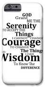 Serenity Prayer 6 - Simple Black And White iPhone Case by Sharon Cummings
