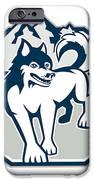 Siberian Husky Dog Mountain Retro iPhone Case by Aloysius Patrimonio