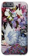 Sweet peas in a blue and white jug with blue and white pot and textiles  iPhone Case by Joan Thewsey