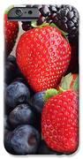 Three Fruit - Strawberries - Blueberries - Blackberries iPhone Case by Barbara Griffin