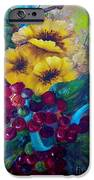Too Delicate for Words - Yellow Flowers and Red Grapes iPhone Case by Eloise Schneider
