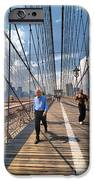 Walkers and Joggers on the Brooklyn Bridge iPhone Case by Amy Cicconi