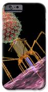 Bacteriophage T4 Injecting iPhone Case by Russell Kightley