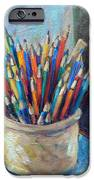 Colored Pencils in Butter Crock iPhone Case by Jean Groberg