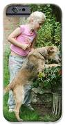 Girl Playing With Dog iPhone Case by Mark Taylor
