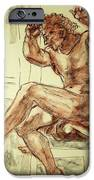 Male Nude Figure Drawing Sketch with Power Dynamics Struggle Angst Fear and Trepidation in Charcoal iPhone Case by MendyZ M Zimmerman