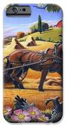 Raking Hay Field Rustic Country Farm Folk Art Landscape iPhone Case by Walt Curlee