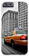 Colour Popped NYC Cab in front of the Flat Iron Building  iPhone Case by John Farnan