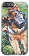 German shepherd pup with ball iPhone Case by L A Shepard