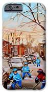 HOCKEY GAMEON JEANNE MANCE STREET MONTREAL iPhone Case by CAROLE SPANDAU