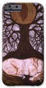 Horse Sleeps Below Tree of Rebirth iPhone Case by Carol  Law Conklin