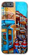 MONTREAL CITY SCENE HOCKEY AT WILENSKYS iPhone Case by CAROLE SPANDAU