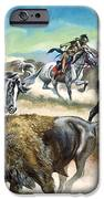 Native American Indians killing American Bison iPhone Case by Ron Embleton