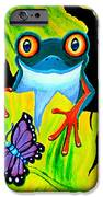Red Eyed Tree Frog and Purple Butterfly iPhone Case by Nick Gustafson