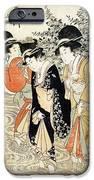 Three girls paddling in a river iPhone Case by Kitagawa Utamaro
