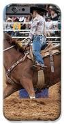 American Rodeo Female Barrel Racer White Blaze Chestnut Horse II IPhone Case by Sally Rockefeller