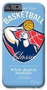 Basketball Player Rebounding Ball Retro IPhone Case by Aloysius Patrimonio