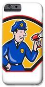 Policeman Shouting Bullhorn Shield Cartoon IPhone Case by Aloysius Patrimonio