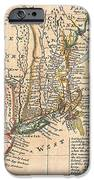 1729 Moll Map Of New York New England And Pennsylvania  IPhone Case by Paul Fearn