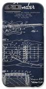 Fender Floating Tremolo Patent Drawing From 1961 - Navy Blue IPhone Case by Aged Pixel