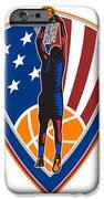 American Basketball Player Dunk Ball Shield Retro IPhone Case by Aloysius Patrimonio