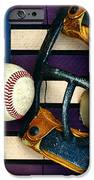 Baseball Catchers Mask Vintage On American Flag IPhone Case by Paul Ward