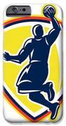 Basketballer Dunking Rebounding Ball Retro IPhone Case by Aloysius Patrimonio