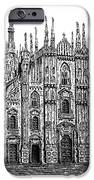 Black And White With Pen And Ink Drawing Of Milan Cathedral  IPhone Case by Mario Perez
