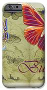 Blue Butterfly - Orange On Green - S02a IPhone Case by Variance Collections