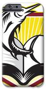 Blue Marlin Fish Jumping Book Retro IPhone Case by Aloysius Patrimonio