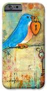 Bluebird Painting - Art Key To My Heart IPhone Case by Blenda Studio