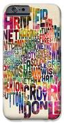 Boroughs Of London Typography Text Map IPhone Case by Michael Tompsett