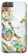 Bruce Springsteen Playing The Guitar Watercolor Portrait.2 IPhone Case by Fabrizio Cassetta
