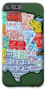 Car Tag Number Plate Art Usa On Green IPhone Case by Design Turnpike