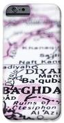 close up of Baghdad on map-Iraq IPhone Case by Tuimages