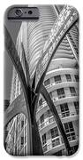 Element Of Duenos Do Los Estrellas Statue With Miami Downtown In Background - Black And White IPhone Case by Ian Monk