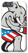 Elephant Mascot Boxer Boxing Side Cartoon IPhone Case by Aloysius Patrimonio