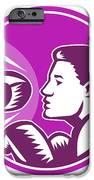 Female Boxer Punch Retro IPhone Case by Aloysius Patrimonio