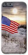 Flag On The Beach IPhone Case by Michael Thomas