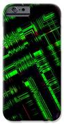 Green And Black In Abstract Geometry Art IPhone Case by Mario Perez