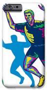 Happy Marathon Runner Running Retro IPhone Case by Aloysius Patrimonio