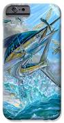 Jumping White Marlin And Flying Fish IPhone Case by Terry Fox