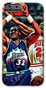 Karl Malone Vs. Michael Jordan IPhone Case by Florian Rodarte