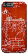 Mechanical Horse Patent Drawing From 1893 - Red IPhone Case by Aged Pixel