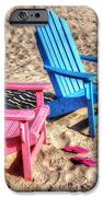 Pink And Blue Beach Chairs With Matching Flip Flops IPhone Case by Michael Thomas