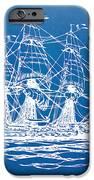 Pirate Ship Blueprint Artwork IPhone Case by Nikki Marie Smith