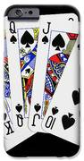 Playing Cards Royal Flush On Black Background IPhone Case by Natalie Kinnear