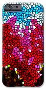 Stained Glass Red Sunflowers IPhone Case by Lanjee Chee
