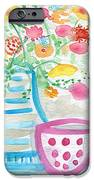 Tea And Fresh Flowers- Whimsical Floral Painting IPhone Case by Linda Woods