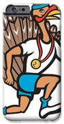 Turkey Run Runner Thumb Up Cartoon IPhone Case by Aloysius Patrimonio